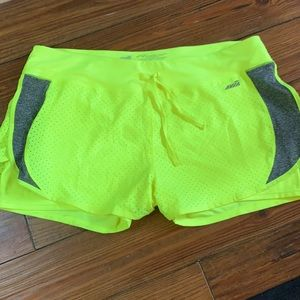 Neon yellow AVIA 2:1 athletic shorts XXL